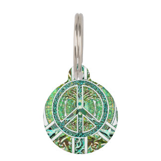 Peace Symbol, Yin Yang, Tree of Life in Green Pet ID Tag