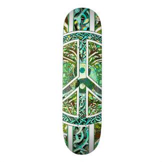 Peace Symbol, Yin Yang, Tree of Life in Green Skate Board