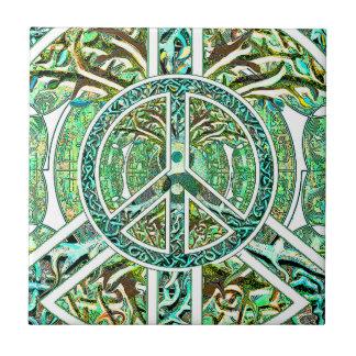 Peace Symbol, Yin Yang, Tree of Life in Green Tile