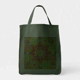 Peace Symbols Design Grocery Tote Bag