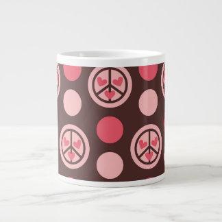 Peace Symbols, Heart and Polka Dots Large Coffee Mug