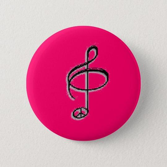peace through music 6 cm round badge