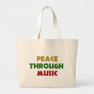 Peace Through Music Large Tote Bag