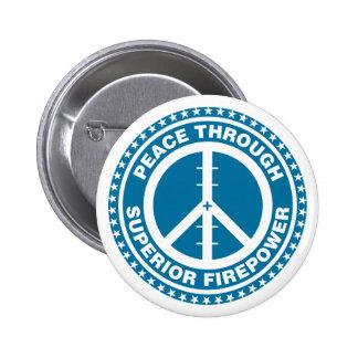 Peace Through Superior Firepower - Blue 6 Cm Round Badge