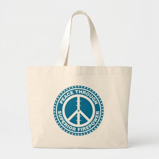 Peace Through Superior Firepower - Blue Tote Bags