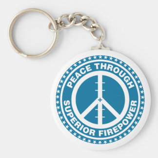 Peace Through Superior Firepower - Blue Basic Round Button Key Ring