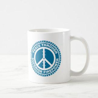 Peace Through Superior Firepower - Blue Coffee Mug
