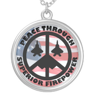 Peace Through Superior Firepower Round Pendant Necklace