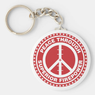 Peace Through Superior Firepower - Red Basic Round Button Key Ring