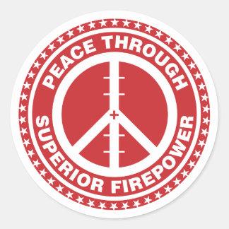Peace Through Superior Firepower - Red Round Sticker