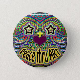 peace-thru-art-star-face 6 cm round badge