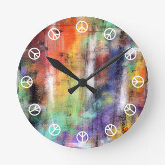 Peace Time ( white on colorful graffiti grunge ) Wall Clocks