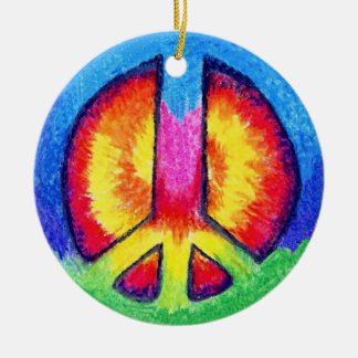 Peace To All! Round Ceramic Decoration