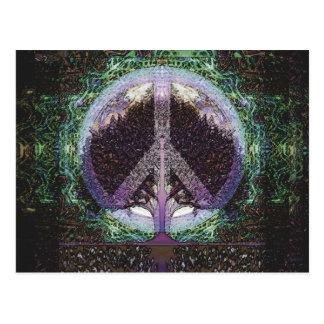 Peace Tree Mandala Heart Postcard