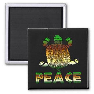 Peace Turtle Square Magnet