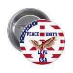 Peace,Unity,Love,USA_Button Button