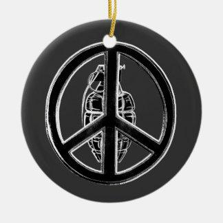 Peace & War (Black) Round Ceramic Decoration