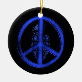 Peace & War (Blue) Round Ceramic Decoration