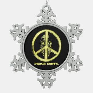 Peace & War (Yellow) Pewter Snowflake Decoration