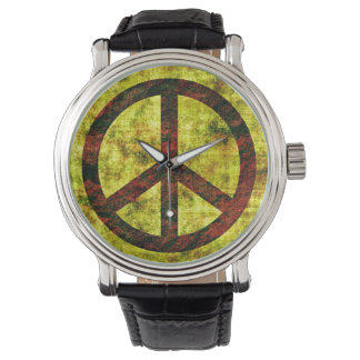 Peace Watch Vintage Leather Strap Black