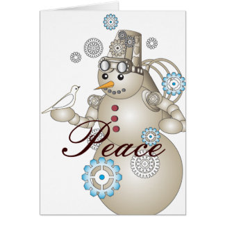 Peace: White Dove and Steam-punk Snowman Christmas Greeting Card