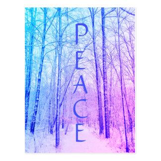peace winter woodland postcard