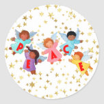Peace with Angels Round Sticker