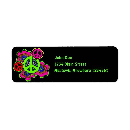 Peace With Flowers Return Address Label