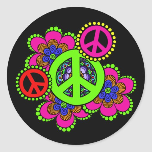 Peace With Flowers Sticker