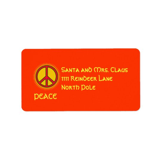 Peace with Sun Personalised Address Label