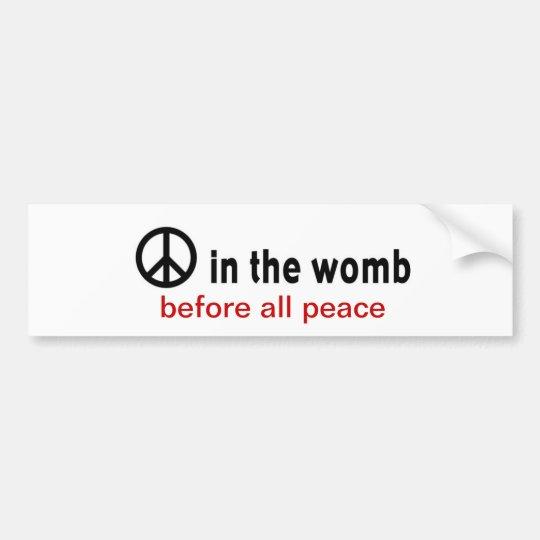 peace:womb bumper sticker