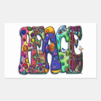 Peace Word Art Birds and Butterflies Rectangular Sticker