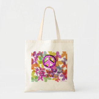 Peace Word Symbol and Butterflies Bag