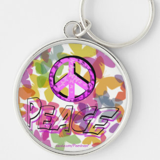 Peace Word Symbol and Butterflies Key Ring
