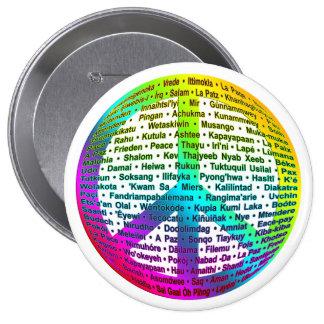 Peace World Language 10 Cm Round Badge