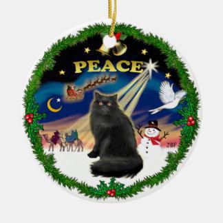 Peace Wreath - Black Persian cat Christmas Ornament