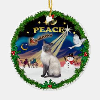 Peace Wreath - Blue Point Siamese Christmas Ornament