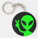 Peaceful Alien Basic Round Button Key Ring