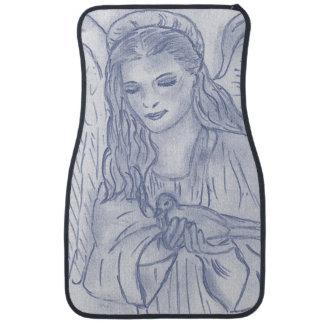 Peaceful Angel in Dusky Blue Floor Mat