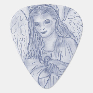 Peaceful Angel in Dusky Blue Guitar Pick