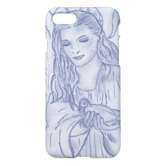 Peaceful Angel in Dusky Blue iPhone 7 Case