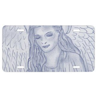 Peaceful Angel in Dusky Blue License Plate