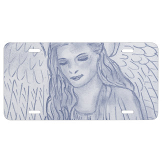 Peaceful Angel in Dusky Blue License Plate