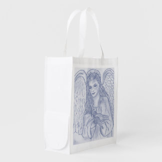 Peaceful Angel in Dusky Blue Reusable Grocery Bag