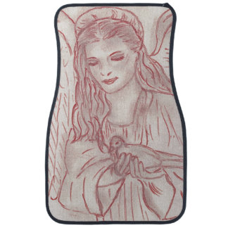 Peaceful Angel in Red Tint Floor Mat