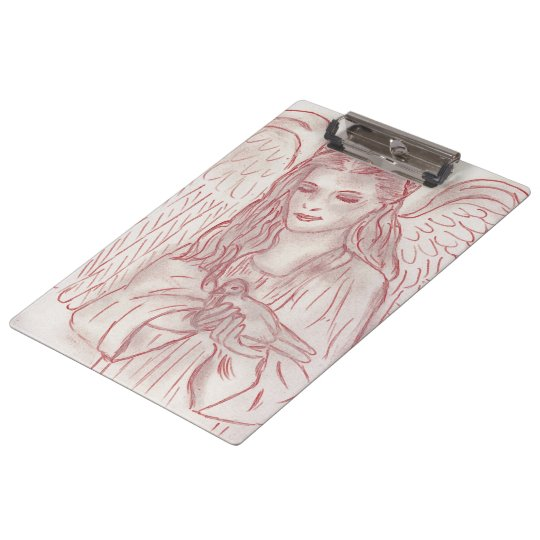 Peaceful Angel in Red Tint Clipboard