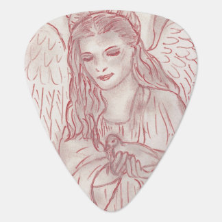 Peaceful Angel in Red Tint Guitar Pick