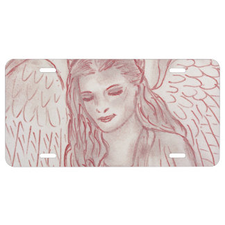 Peaceful Angel in Red Tint License Plate