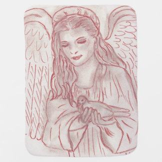 Peaceful Angel in Red Tint Receiving Blankets