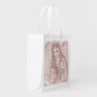 Peaceful Angel in Red Tint Reusable Grocery Bag